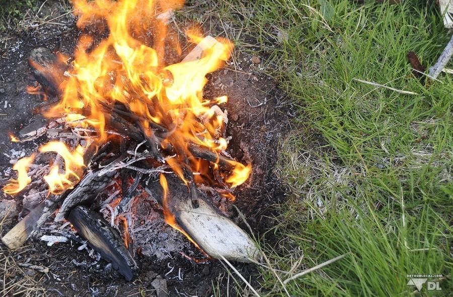 Petit feu de camp à Ballstad, Lofoten pour cuire nos petits amis poissons