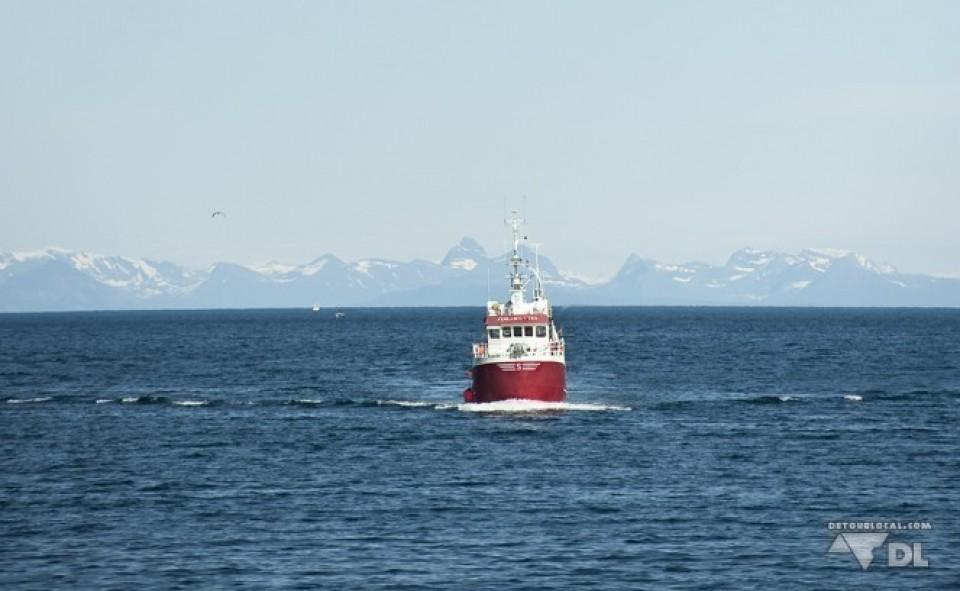 Bateau de pêcheurs qui rentre au port, îles Lofoten
