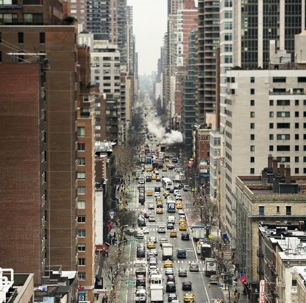 Vue des grattes-ciels de New York à bord du funiculaire