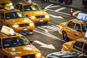 Vue des taxis de Time Square, New York
