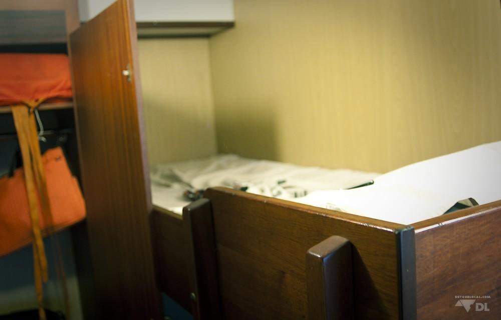 La dimension de notre lit de 1ère classe à bord du MV Liembe