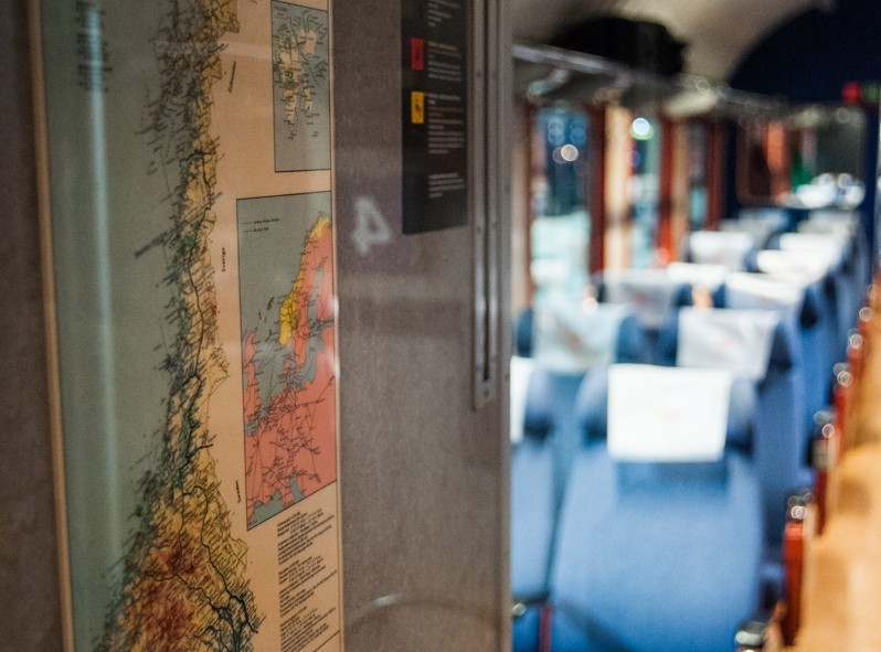 Voici une carte de la norvège sur le train Oslo vers Bodø