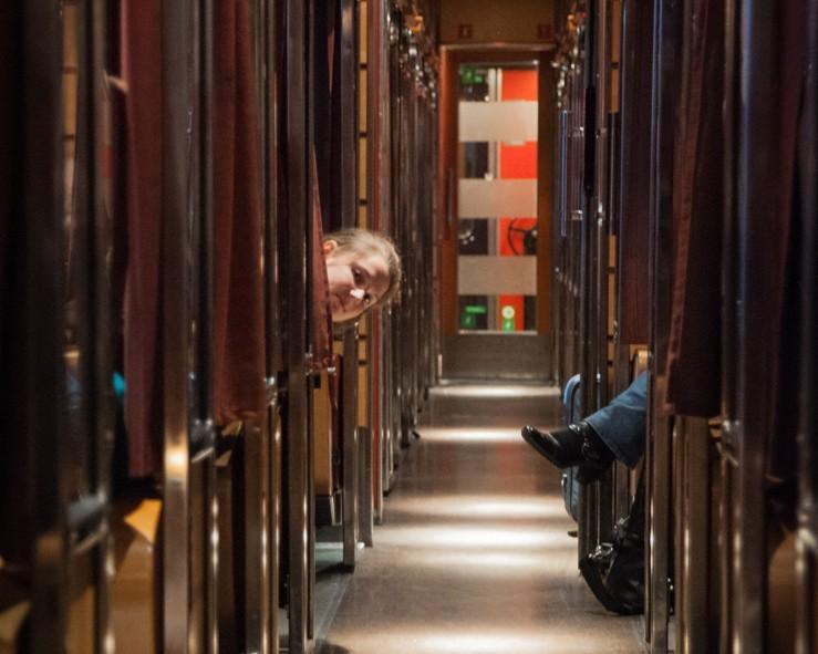 Alizé qui fait coucou de la première classe du train Oslo - Bodø en Norvège