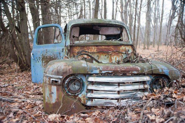 Vieux camion abandonné dans la fôret