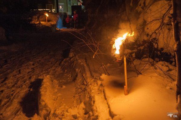 Le chemin dans les bois qui mène à la messe de Breakeyville, Québec