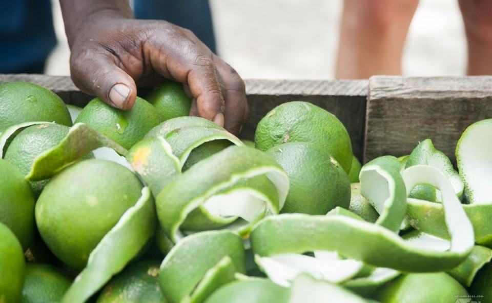 Les oranges pelées à la vintage dans les rues de Cuba
