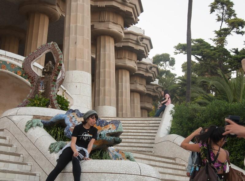 Le spot à touriste à l'entrée du Parc Güel à Barcelone en Espagne