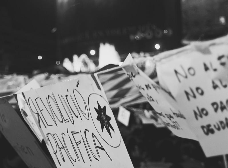 Manifestation pacifique à Barcelone en Espagne, lors de mon premier passage en 2011