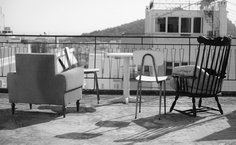 La vue de notre chambre chez notre hôte Mike à Athène en Gréce